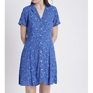 Gap Fit and Flare V-Neck Blue Floral Button Dress